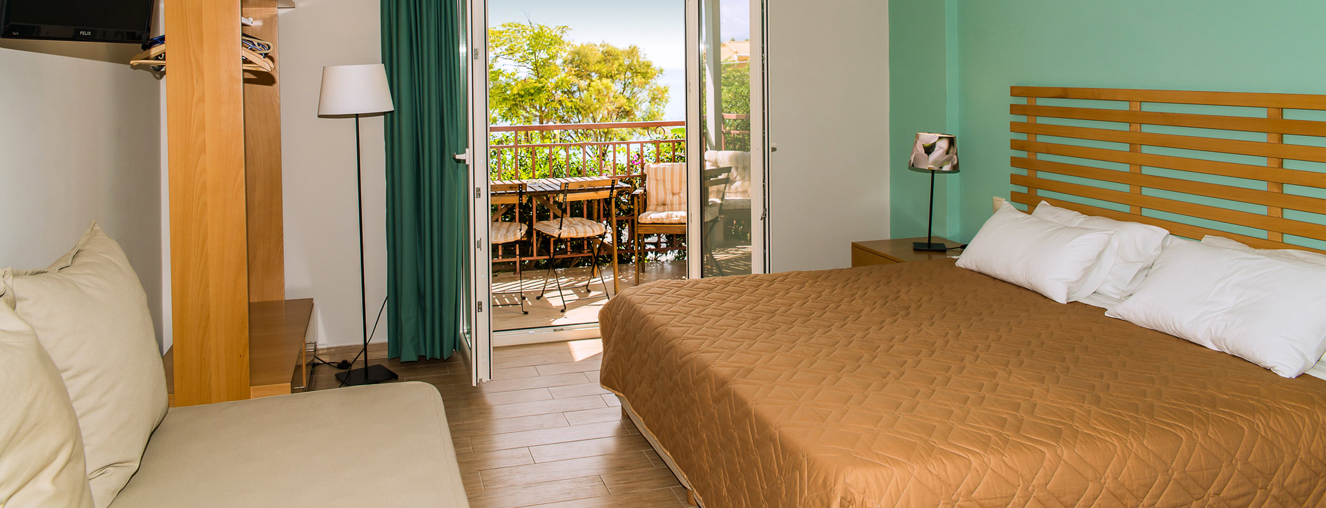 Superior Studio at Lemonia Accommodations for 3 guests with seaview terrace